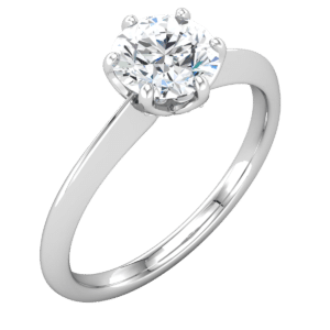 Valeria Custom Jewelry | Knife edged, 6 Prong Solitaire Ring