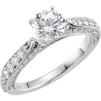 Engraved Cathedral Engagement Ring