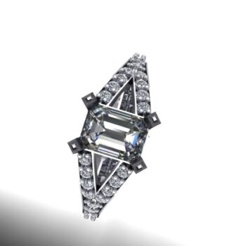Emerald Cut Split Shank Engagement Ring