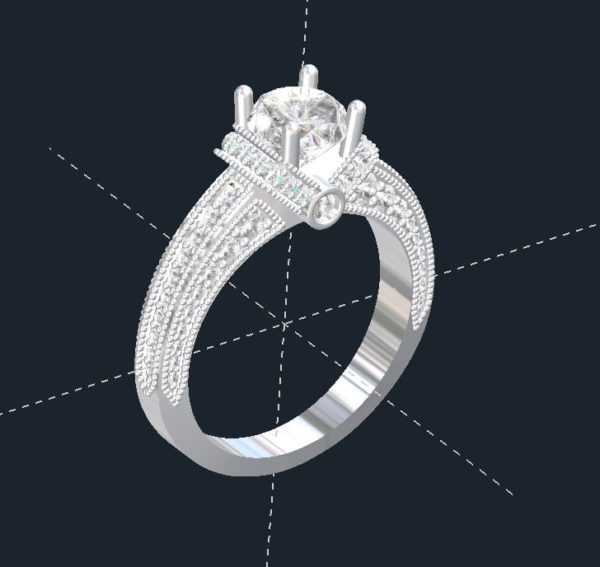 V Halo Engagement Ring