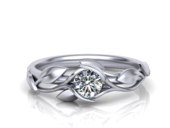 Tension Set Floral Engagement Ring
