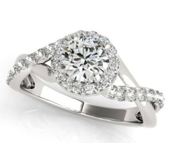 Crossover Halo Engagement Ring