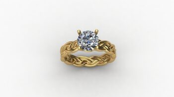Woven Rope Solitaire Engagement Ring