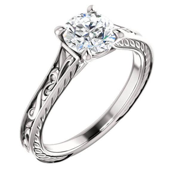 Scrolled Vintage Engagement Ring