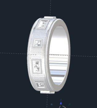 Men's Brushed Diamond Wedding Ring