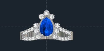 Split Shank Pear Halo Engagement Ring