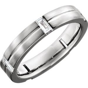 Grooved Diamond Wedding Ring