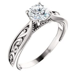 Milgrained Solitaire Engagement Ring