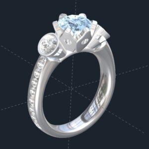 3 stone tulip engagement ring