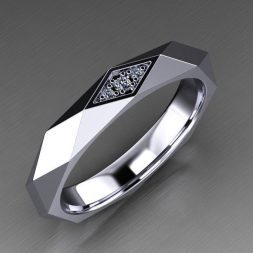 Faceted Men's Wedding Ring