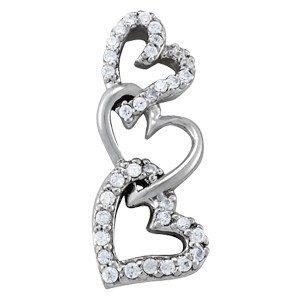 Triple Diamond Heart Necklace