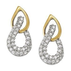 2 Tone Diamond Earrings