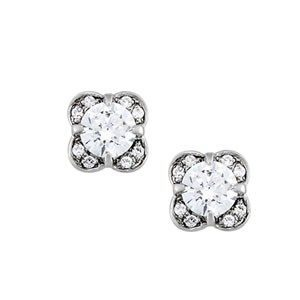 Accented Diamond Solitaire Earrings