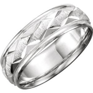 Patterned Men's Wedding Ring