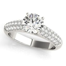 Cathedral Pave Solitaire Engagement Ring