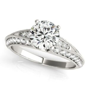 Milgrained Split Shank Engagement Ring