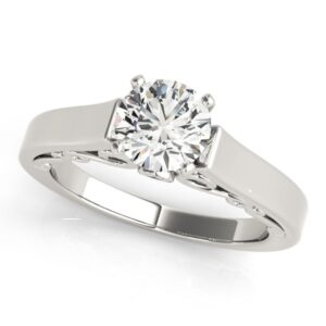 Scrolled Cathedral Solitaire Ring