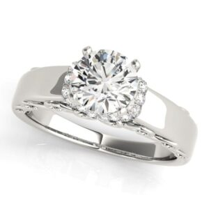 V Halo Heart Scrolled Cathedral Ring