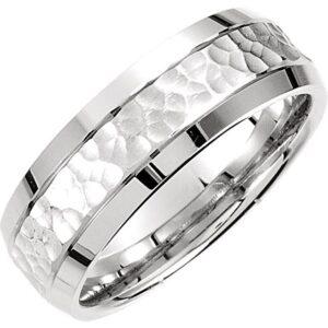 Hammered White Gold Wedding Ring