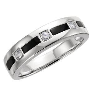 Onyx and Diamond Wedding Ring
