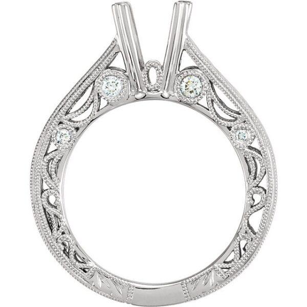 Engraved Vintage Engagement Ring