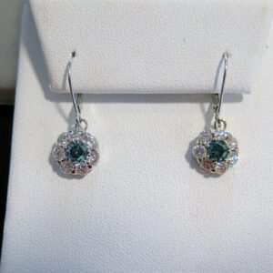 Blue & White Diamond Halo Earrings