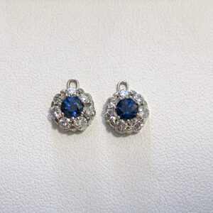 Sapphire & Diamond Halo Earrings