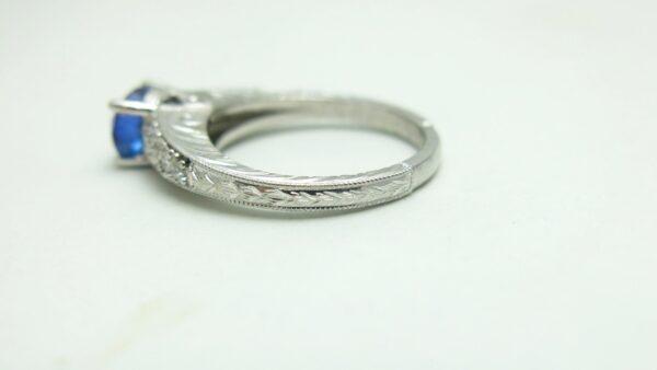 Engraved Split Shank Engagement Ring