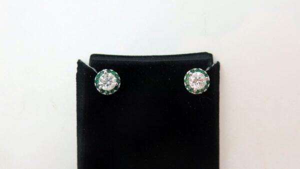 diamond and gemstone halo earrings