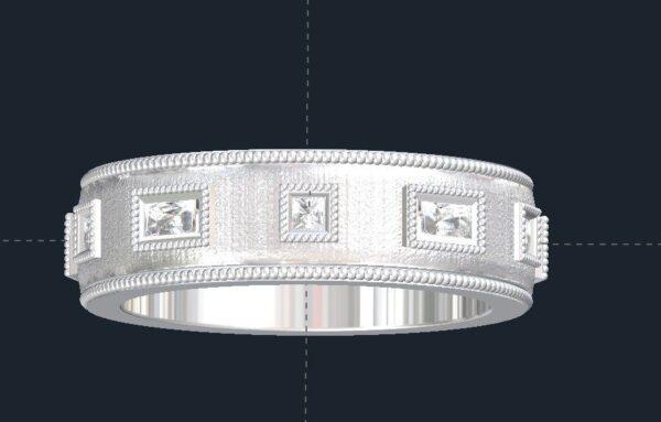 Milgrained Men's Diamond Wedding Ring