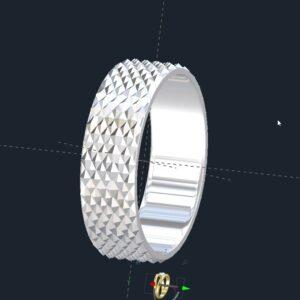 Diamond Pattern Men's Wedding Ring