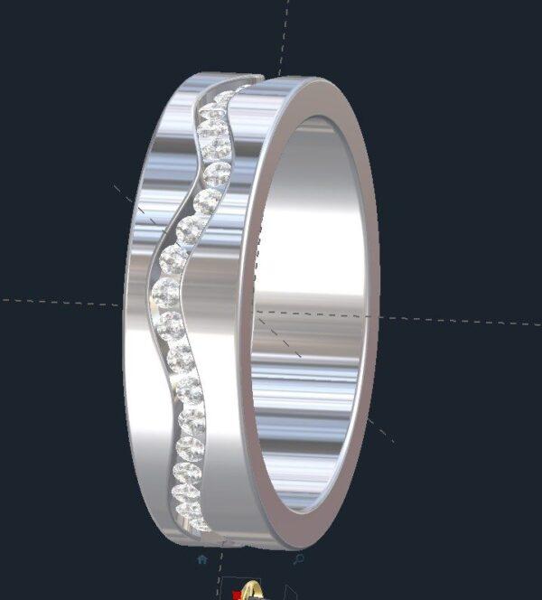 Wavy Men's Diamond Wedding Ring