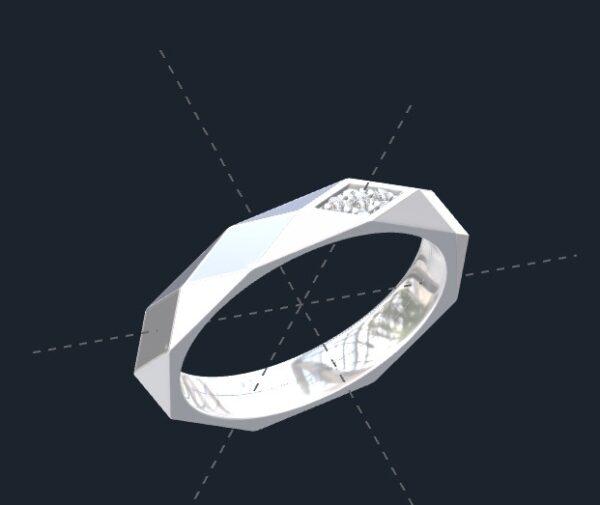 Faceted Men's Wedding Ring