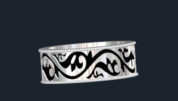 Floral Men's Wedding Ring