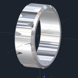 Beveled Grooved Men's Wedding Ring