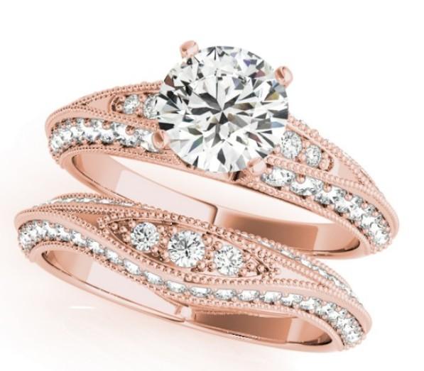 Milgrained Split Shank Engagement Ring