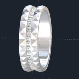 Diamond Pyramid Men's Wedding Ring