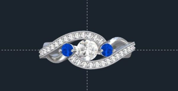 bypass 3 stone engagement ring