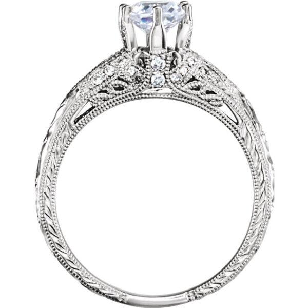 6 Prong Art Deco Engagement Ring