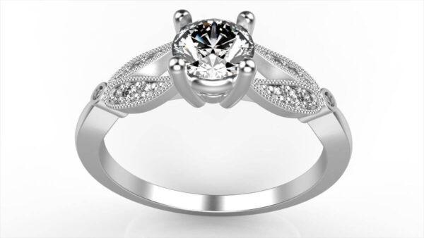 Floral Split Shank Engagement Ring
