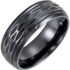 Patterned Black Titanium Wedding Ring