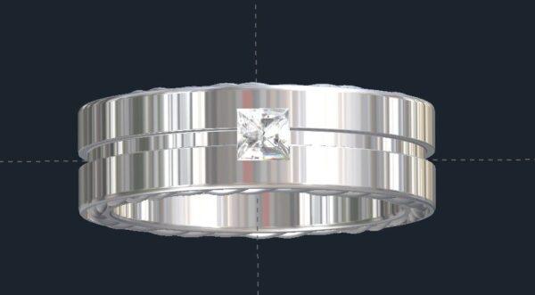 Grooved Men's Diamond Wedding Ring