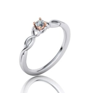 2 Tone Heart Cathedral Engagement Ring
