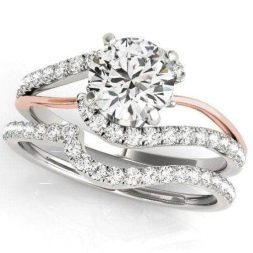 2 Tone Split Shank Engagement Ring