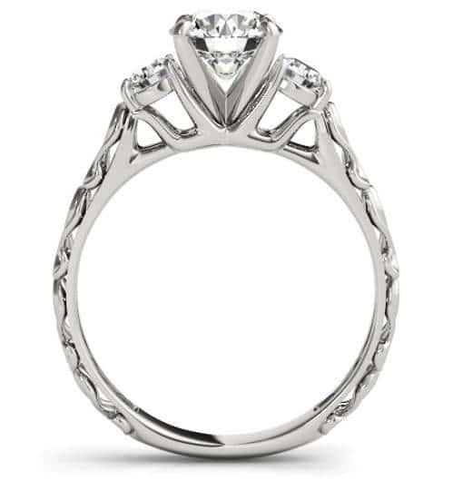 Custom 3 stone Art Deco Engagement Ring