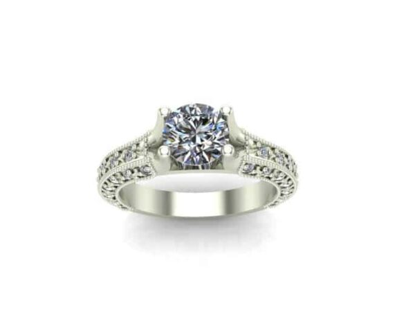 milgrained art deco engagement ring