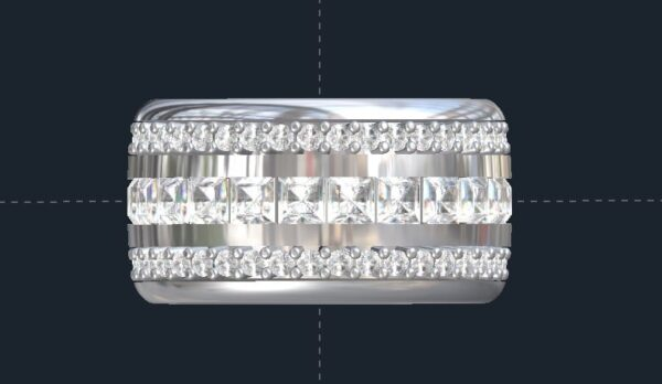Men's 3 Row Diamond Wedding Ring