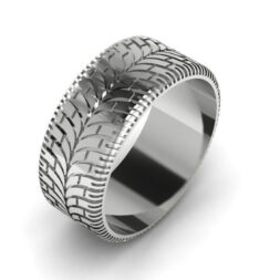 Modern Tire Tread Wedding Ring