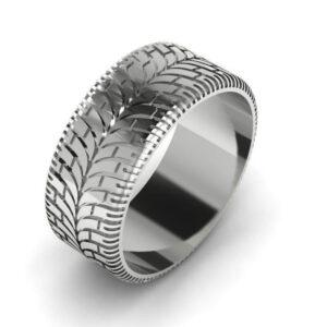 Modern Tire Tread Wedding Ring