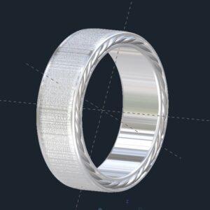 Brushed Men's Rope Wedding Ring